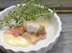 Oysters with Country Ham & Gruyere