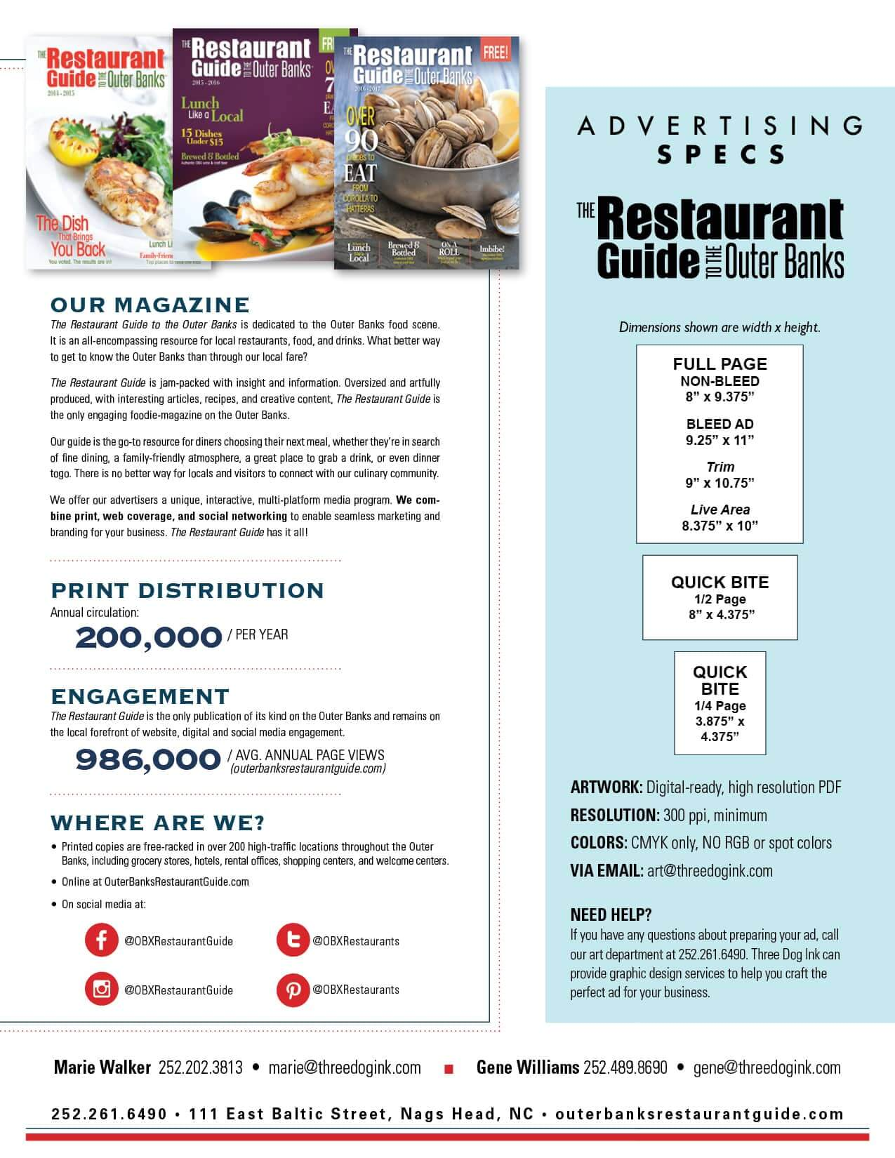 Media kit for the best outer banks advertising contact us for Restaurant guide