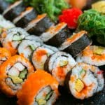 outer banks sushi restaurants - varies sushi on tray